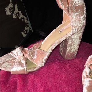 Velvet Blush Pink Heels